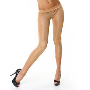 1558ff5fe1a66 NEW SEXY ULTRA HIGH-SHEEN SPARKLY 3/4 CAPRI LEATHER-LOOK LEGGINGS 6 ...