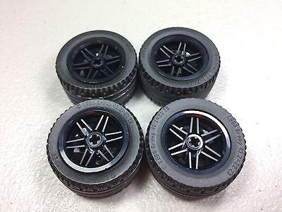 New Genuine Lego parts lot of 4 Black Tire 43.2 x 22 ZR w// Black wheel