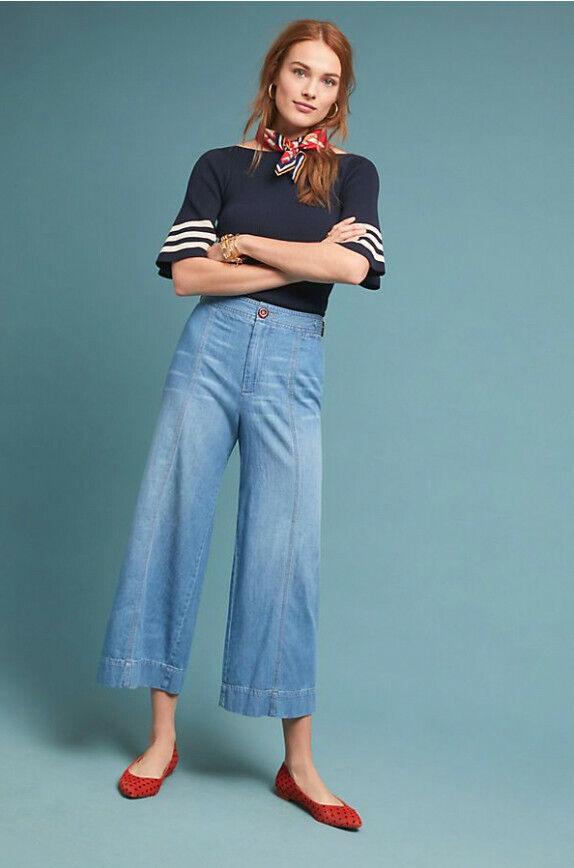 Anthropologie Pilcro Ultra High Rise Cropped grand Leg Jeans Reg taille 27 Brandnouveau