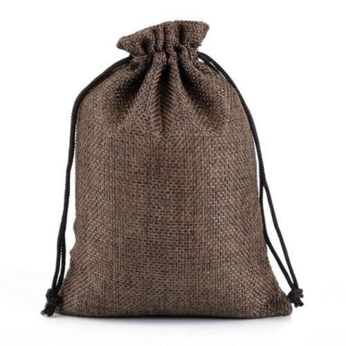 50pcs 7*9CM Burlap Jute Hessian Wedding Favor Gift Candy Bags Drawstring Pouches