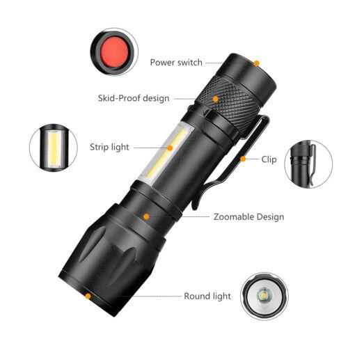 COB LED Flashlight Adjustable Focus Camping Torch Pen Clip Light 4 Modes