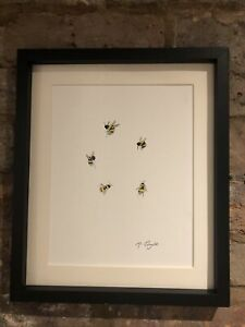 Bumble-Bees-Original-Signed-Art-Watercolour-Painting-Not-A-Print-Gift
