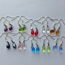 Wholesale 10 Pairs Beautiful Czech Teardrop Glass Girl Earrings Silver P Jewelry