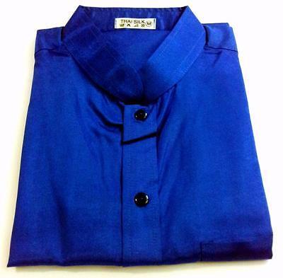 Mens Thai Silk Shirts / Blue / Mandarin Collar / Short - Long / Small - XXXL
