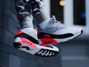 Detalles de Nike Air Max 90 Ez Zapatos Hombre Gris Negro Rojo Puro Platinum (Ao1745 002 ( Sz