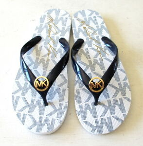 dirt cheap uk store uk cheap sale Details about NEW Michael Kors Women's Navy/White Jet Set Rubber Flip Flop  Thong Logo Sandals