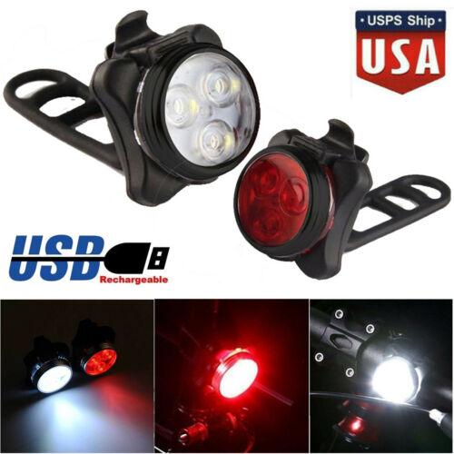 Rechargeable USB LED Bike Bicycle Head and Tail Cycling Front Back Headlight Set