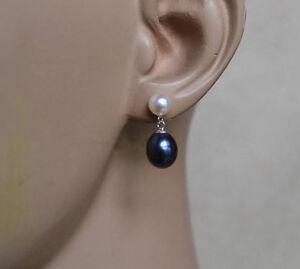Perle-Ohrringe-Kultivierten-weiss-amp-schwarz-Suesswasser-Perle-Ohrringe