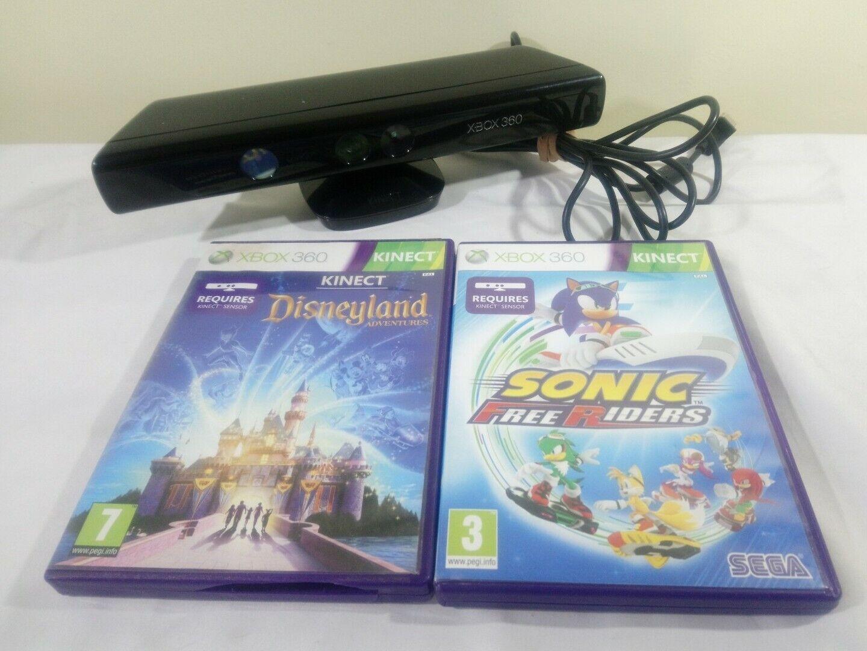 Microsoft Xbox 360 Black Kinect Motion Sensor Camera Bar & 2 Games Sonic Disney