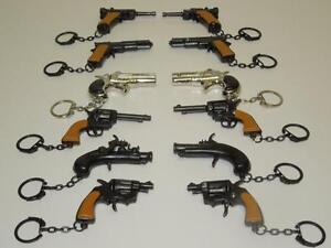 12 HAND GUN KEY CHAINS DIE CAST WHOLESALE LOT 6 DIFFERENT MODELS GUN KEYCHAINS