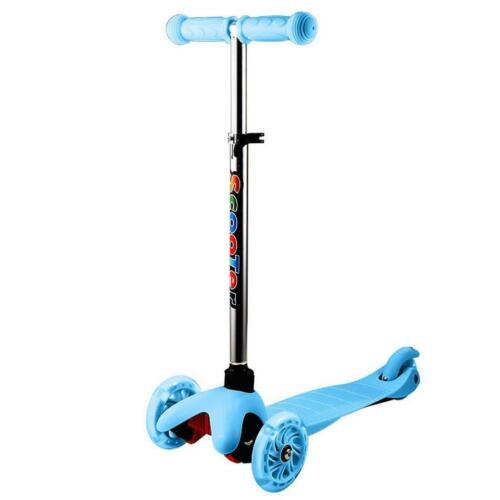 Kick Scooter For Toddler Kids Adjustable Height T-Bar LED Light 3-Wheel Outdoors