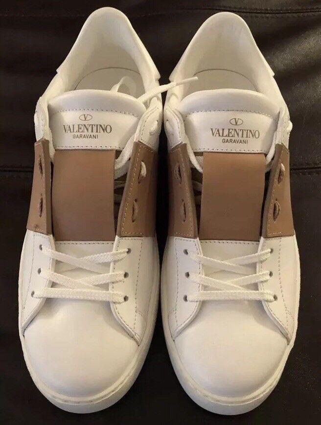 Auth Valentino Garavani vit Beige Beige Beige Stripe skor Rockhingst Sz 39.5 Detaljhandel  695  ny sadie