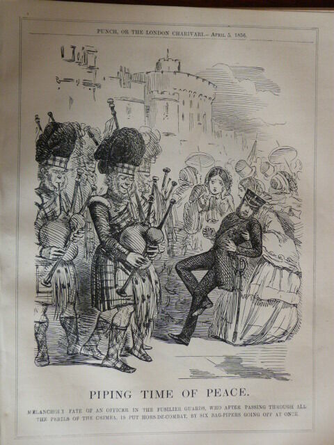 "7x10"" PUNCH cartoon 1856 PIPING TIME OF PEACE fusilier guards / crimea"
