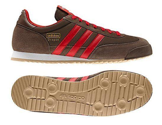█New Men's Adidas Originals DRAGON Shoes Brown Red Retro Trainers adistar racer