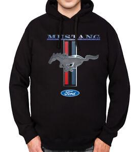 Men/'s Ford Mustang Flags Raglan Hoodie CharcoalBlack  All size S-3XL