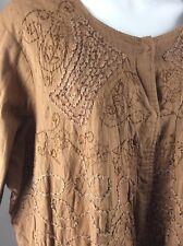 Ulla Popken Brown Sequin Embroidered Jacket 24/26 Snap Front 100% Cotton