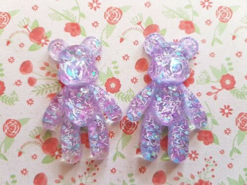 Large Teddy Bear Sparkly Flatback Resin Embellishment Crafts Decoden Cabochon UK