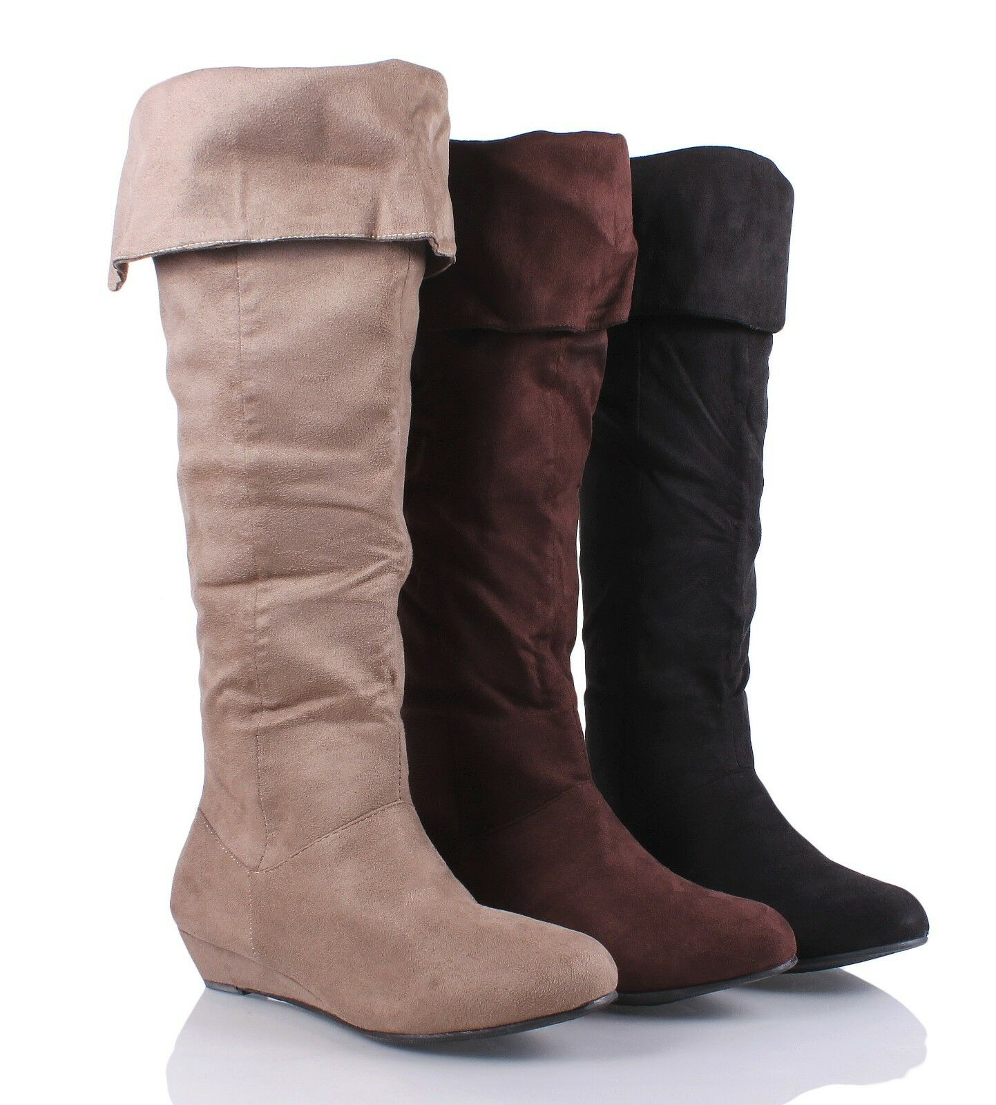 "Casual 1.5"" Heels Fashion Back Zip Open Faux Suede Womens Knee-High Boots Shoes"