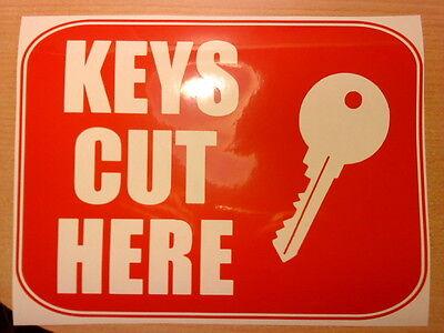 "small 8x6/"" keys cut here shop window sticker sign door key cutting graphic decal"