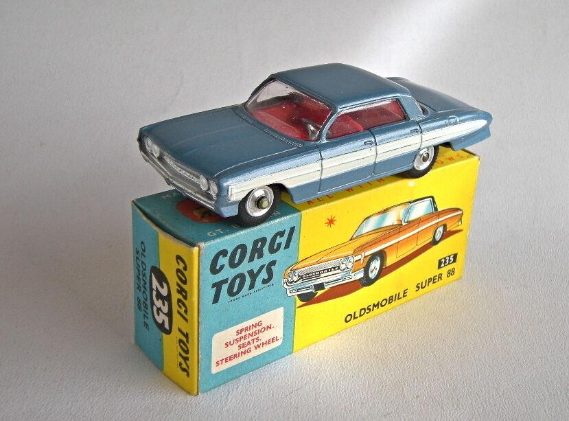 Corgi spielzeug 235 oldsmobile super 88 metallic - blau - weißen streifen - minze - boxen   mb