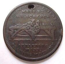 1834 S B SCHENCK ATTLEBORO MA TOKEN - WOODWORTH PLANING TONGING JOINTING MACHINE