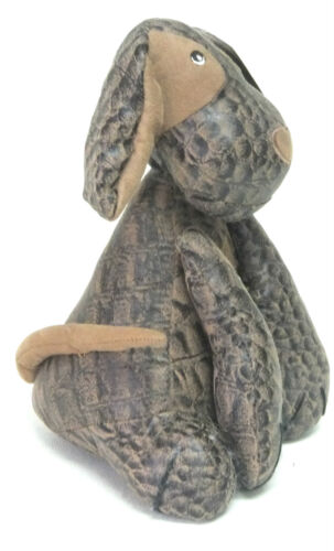 """SALCO 9.5/"""" Dog DOORSTOP Faux LEATHER /& SUEDE Puppy Ornament Home Gift BROWN"""