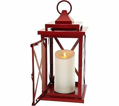 "Luminara 14"" Lexington Lantern with Flameless Candle & Remote Red (#726)"
