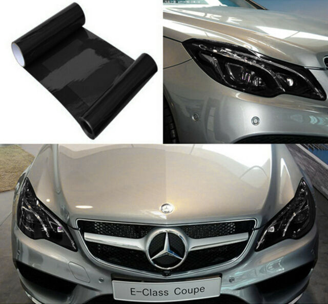 "Fog Tail Headlight DRL Cover Film Black Decorative Vinyl Wrap 12""*40"" For Benz"