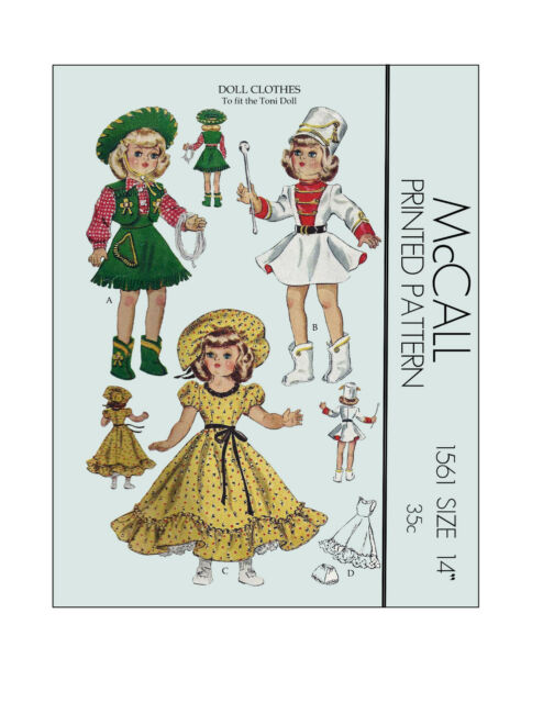 Vintage 1950's McCall 1561 - 14 inch Toni Doll Clothes Sewing pattern