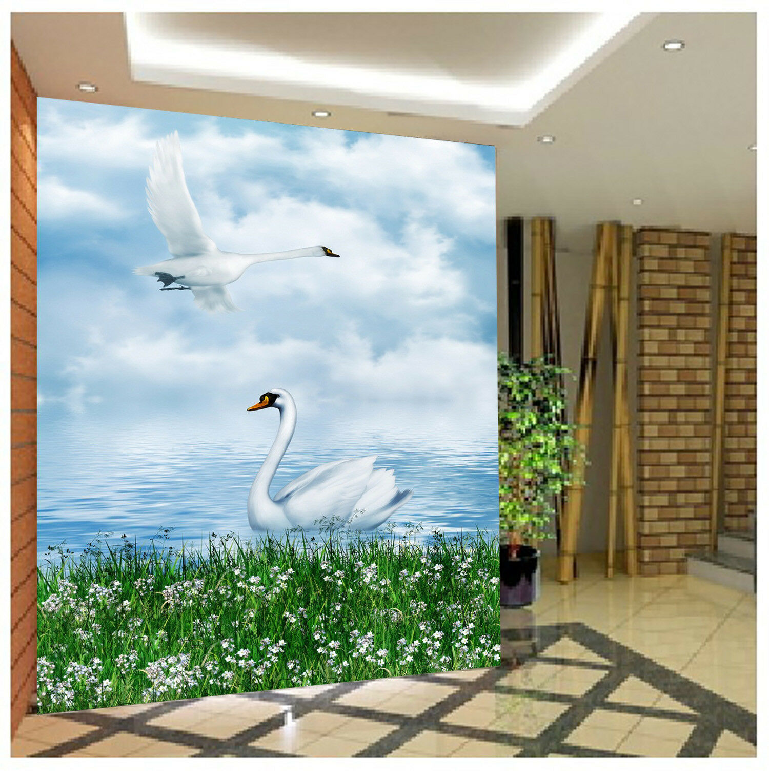 3D Sky Lawn Swan 727 Wallpaper Mural Paper Wall Print Wallpaper Murals UK