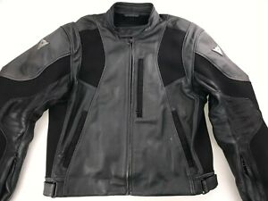 DAINESE-PERFORATED-LEATHER-MOTORCYCLE-BIKER-MOTO-JACKET-SZ-58-XL-ELBOW-PADS