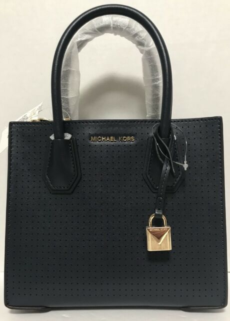 6acf4c00527875 Michael Kors Mercer Admiral Perforated Leather Medium Messenger Bag ...