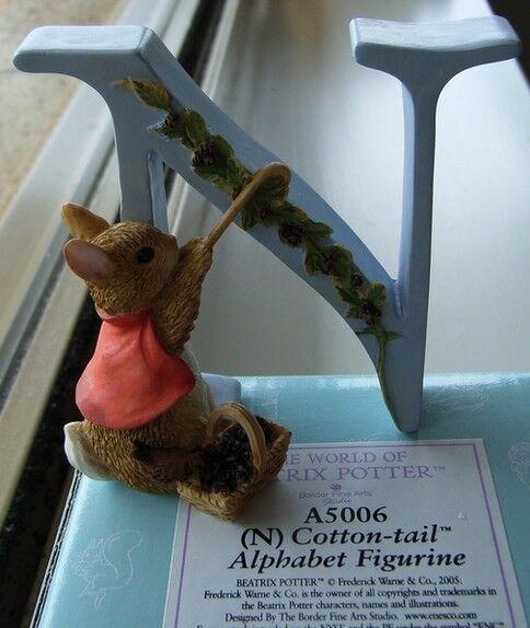 Beatrix Potter A5006 Alphabet Letter N Cotton Tail