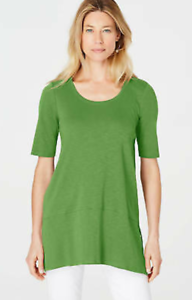 NEW-J-JILL-XL-Petite-Pima-Slub-knit-S-S-Dipped-hem-Tunic-Knit-Angled-Apple-Green
