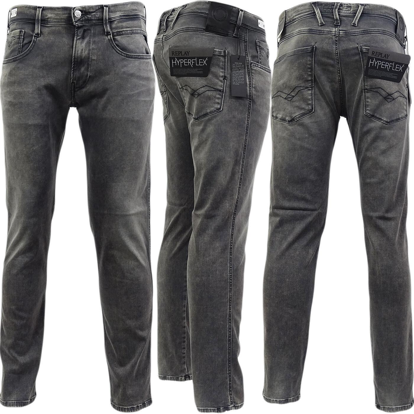 Replay Grey Anbass Slim Fit Stretch 'Hyperflex' Jean   Denim Pants - M914 661-07