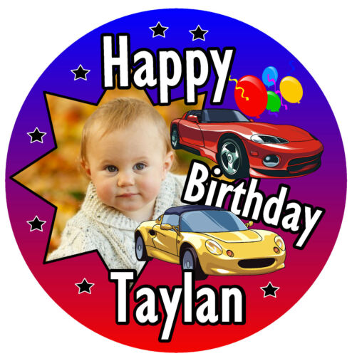 /& COLOURS PHOTO CARS ANY NAME PERSONALISED BRAND NEW BOYS BIRTHDAY BADGE