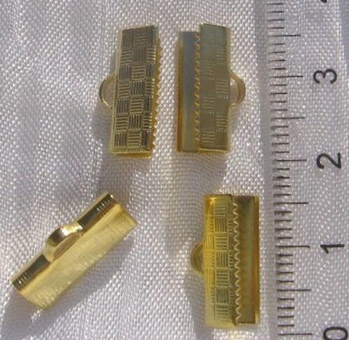 LOT 10 PINCES EMBOUTS FIL CORDON CACHE NOEUDS EN METAL DORE CLAIR 15x7mm *O119