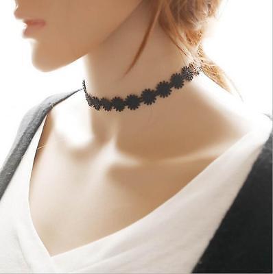 Gothic Black Velvet  Retro Choker Collar Necklace Jewelry Lace Flower Pendant