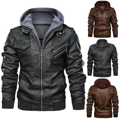 Denzell Outwear Anarchist Leather Jacket Hooded Motorcycle Coat Biker Style Men