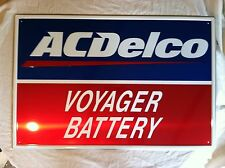 NEW ACDELCO VOYAGER BATTERY ALUMINUM EMBOSSED 24 X 36 SIGN AC DELCO COLLECTIBLE