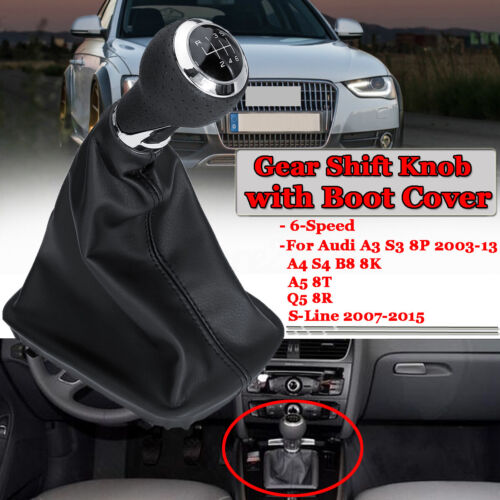 For AUDI A3 A4 Q5 S3 S4 8P 6 SPEED GEAR SHIFT STICK KNOB HANDLE LEATHER SHIFTER