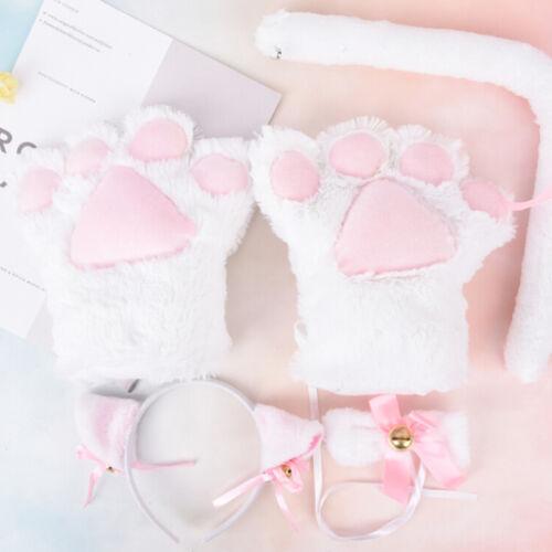 5pcs//set Cat Cosplay Costume Cat Tail Ears Collar Paws Gloves Set Cute HI