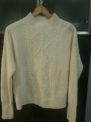 NWT CYNTHIA ROWLEY Size M 2-ply 100/% Cashmere Mock Neck Sweater SOFT!!