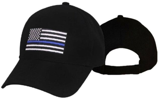 Thin Blue Line Police Memorial USA Hat Blue Lives Matter Black Cap American  Flag f22efe75aa4