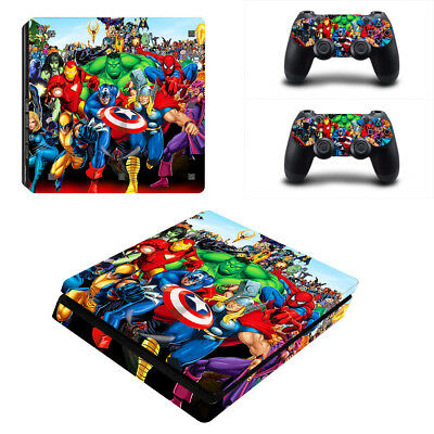 Faceplates, Decals & Stickers Ps4 Slim Console Skin Decal Marvel Family Vinyl Stickers Cover Controller Remote Utmost In Convenience Video Games & Consoles