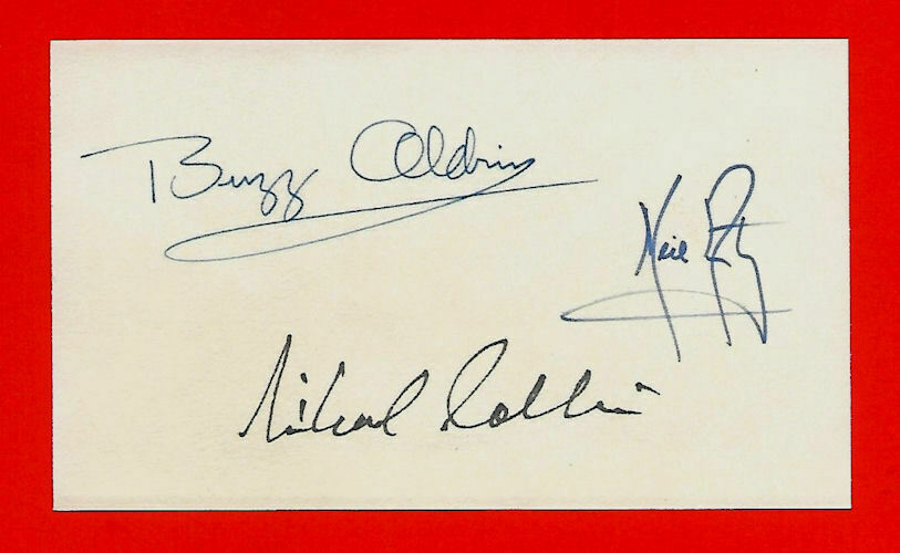 s l1600 - Apollo11 Armstrong, Aldrin & Collins Autograph Reprints On Old 3X5 Crd