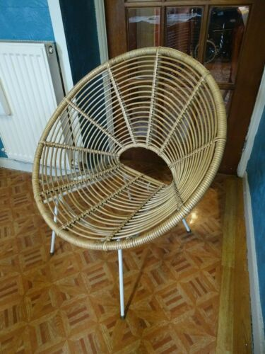 RARE FRENCH FRANCO ALBINI RATTEN CHAIR WHITE METAL LEG & SUPPORT ASSEMBLY