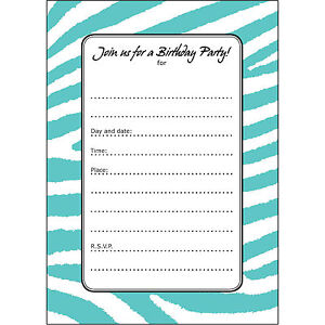 20 birthday party invitations fill ins bpfi 031 zebra stripes