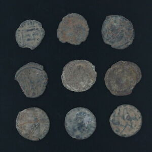 Antiguo Monedas Mezcladas Figural Romano Artifacts Lote De 9 B10057