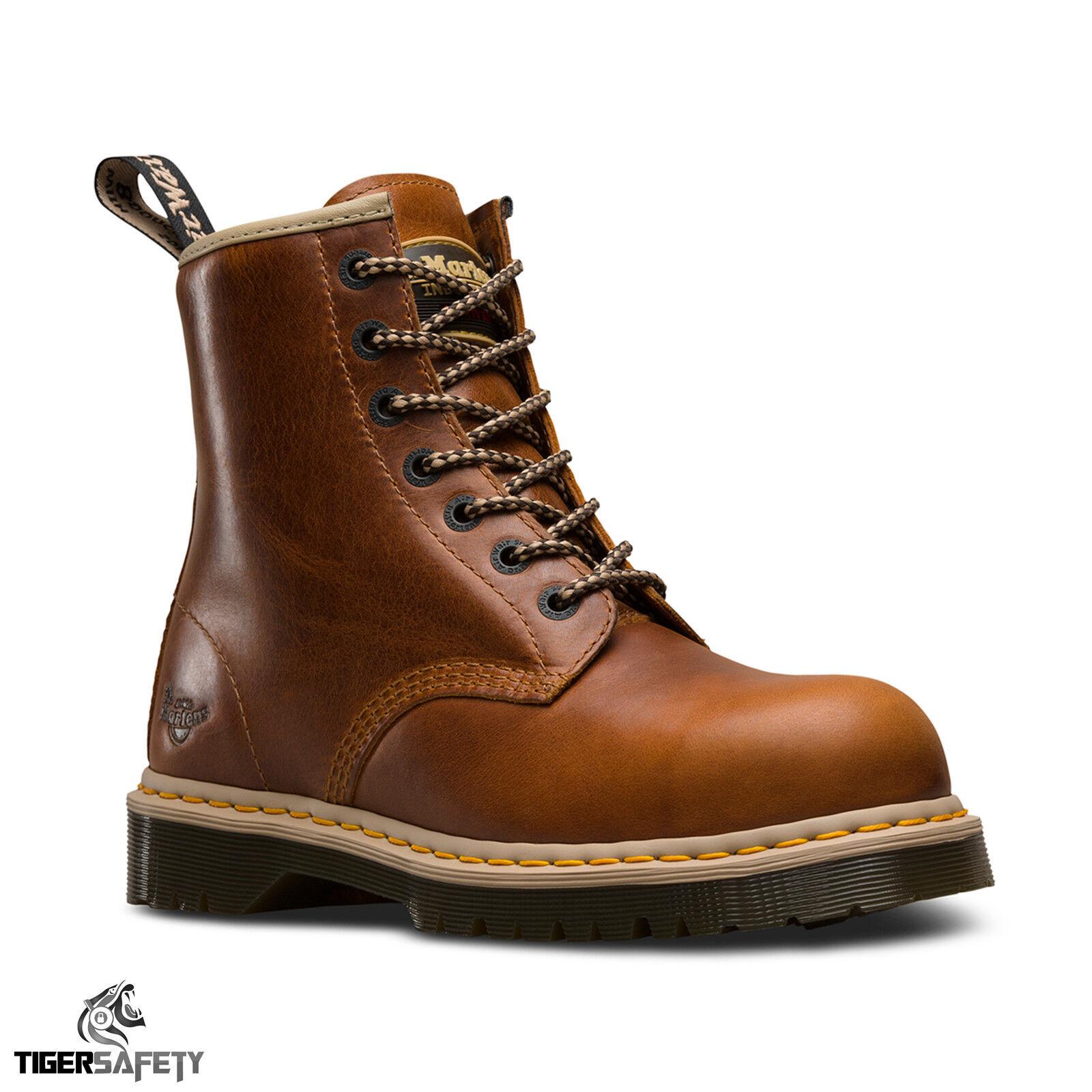 Dr Martens DM Docs Icon 7B10 Tan Steel Toe Cap 7 Eyelet Heavy Duty Safety Stiefel